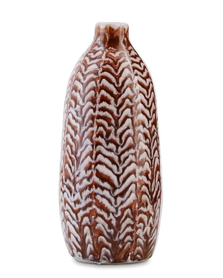 Ceramic Herringbone Vase, Large, Chocolate