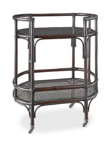 Drake Bar Cart with Glass Top, Dark Honey