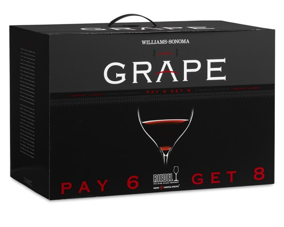 Riedel Grape Cabernet Gift Set, Pay 6-Get 8