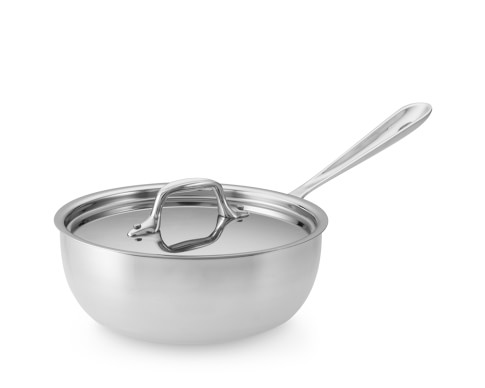 All-Clad Tri-Ply Stainless-Steel Saucier, 2-Qt.