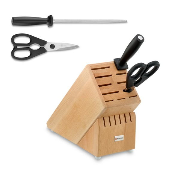 Wüsthof 17-Slot Knife Block with Shears and Sharpening Steel
