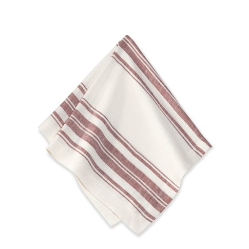 French Stripe Napkins, Set of 4, Red