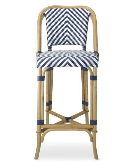 Parisian Bistro Woven Bar Stool, Blue/White