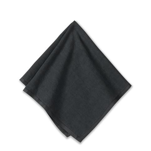 Silk Applique Border Napkins, Set of 4, Black