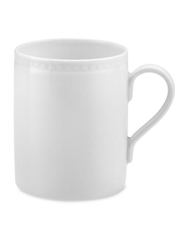 Apilco Beaded Hemstitch Porcelain Mugs, Set of 4