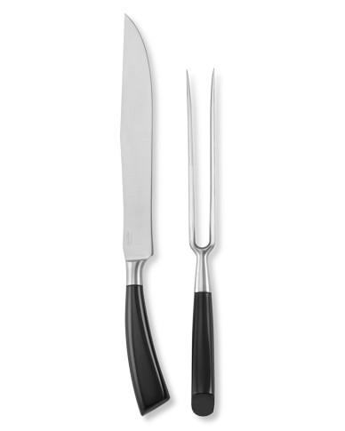 Saladini Buffalo Horn Handle Carving Set, Black