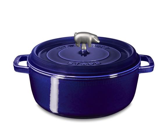 Staub Cast-Iron Round Wide Cocotte, 6-Qt., Sapphire Blue