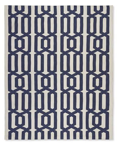 Graphic Link Indoor/Outdoor Rug , 6' X 9', Dress Blue / Egret