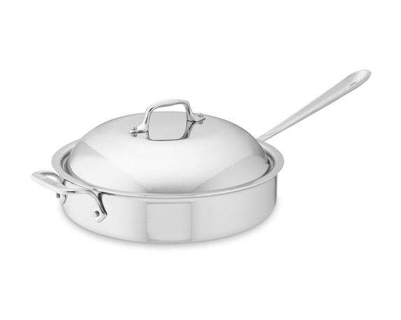 All-Clad Tri-Ply Stainless-Steel Pan Roaster with Domed Lid, 3-Qt.