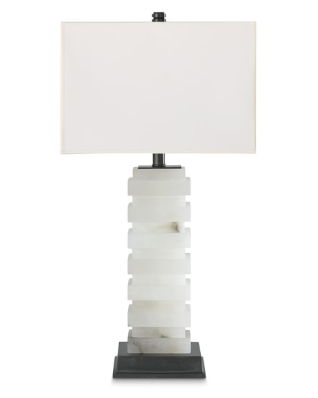 Rhodes Alabaster Table Lamp with Ivory Shade