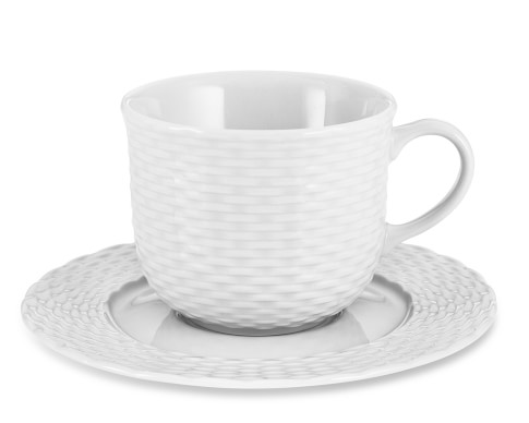 Pillivuyt Basketweave Porcelain Cups & Saucers, Set of 4