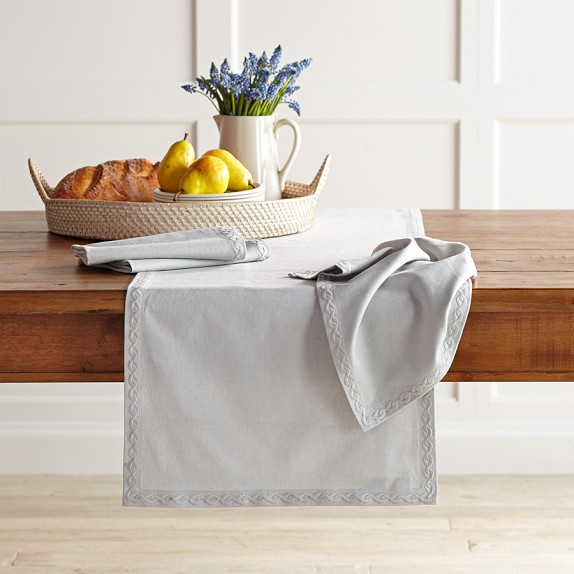 Chain Link Embroidered Table Runner, Mirage Grey