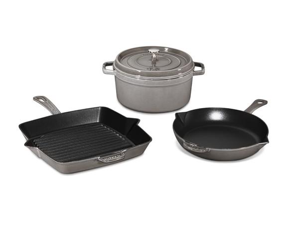 Staub Cast-Iron 4-Piece Cookware Set, Graphite