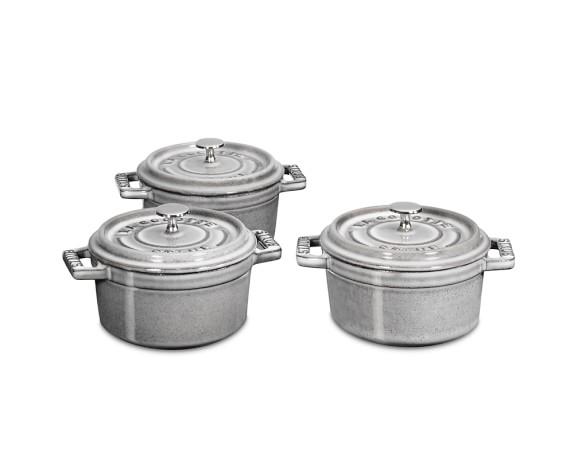 Staub Cast-Iron Mini Round Cocotte Set, 1/4-Qt., Graphite