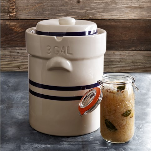 Large Ohio Stoneware Fermentation Crock, 3-gal.