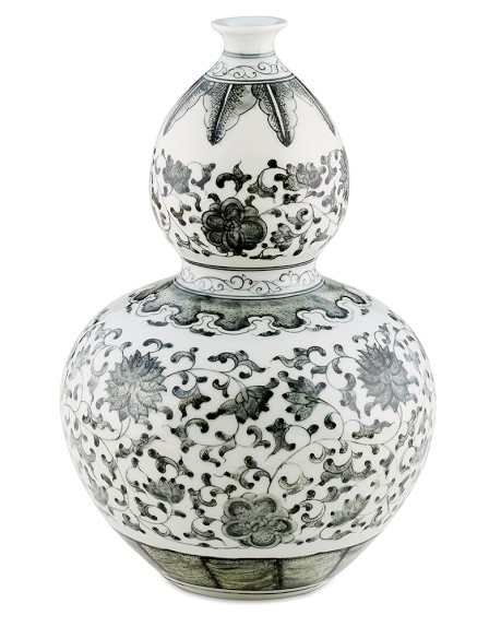 Charcoal Ginger Jar, Gourd Vase