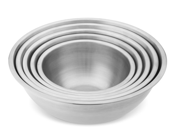 Stainless-Steel Restaurant Mixing Bowls, Set of 5