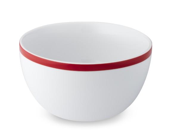 Brasserie Red-Banded Porcelain Cereal Bowls, Set of 4