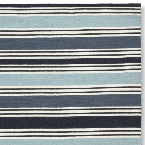 Awning Stripe Rug Swatch, Blues