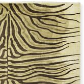 Hand Knotted Zebra Rug Swatch, Beige/Chocolate