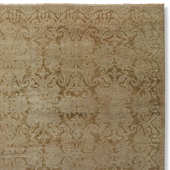 Vestiges Hand Knotted Rug Swatch, Gray/Blue
