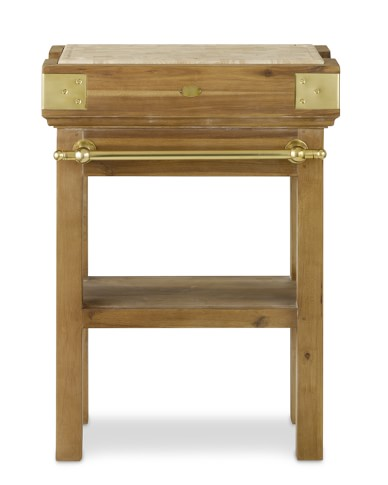 French Chef's Kitchen Island, Single with Shelf, Natural