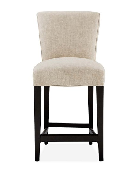 Fitzgerald Dining Stool, Counter, Ebony, Chunky Linen, Natural