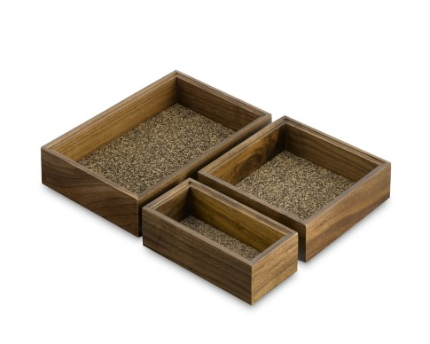 Walnut Modular Drawer Organizers, Set of 3