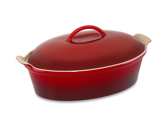 Le Creuset Heritage Stoneware Oval Covered Casserole, Red