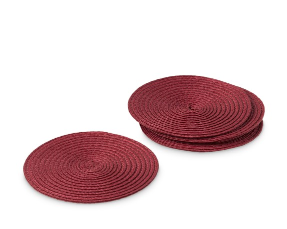Round Woven Coasters, Set of 4, Red