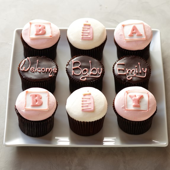 Personalized Baby Cupcakes for Her, Set of 9