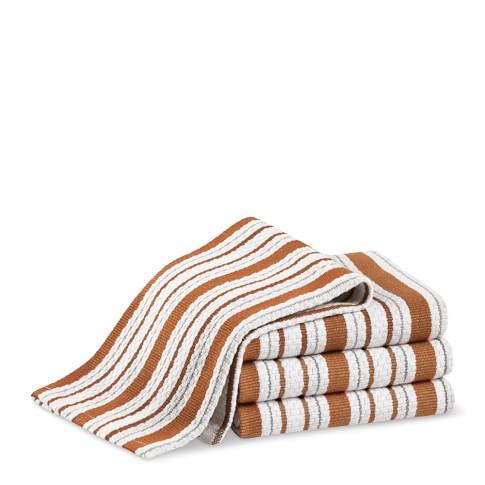 Williams-Sonoma Contrast Stripe Dishcloths, Set of 4, Pumpkin