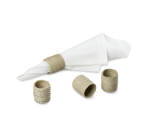 White Wash Woven Hapao Napkin Rings, Set of 4