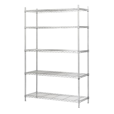 Wire 5-Shelf Wide Unit, Chrome