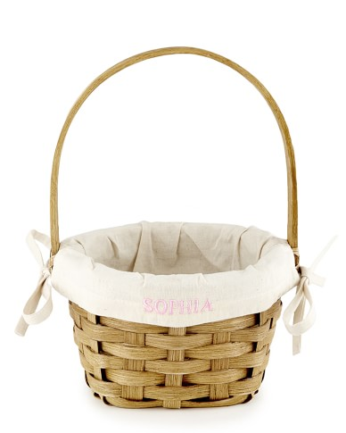 Handwoven Basket with Handle, Small, Honey Brown