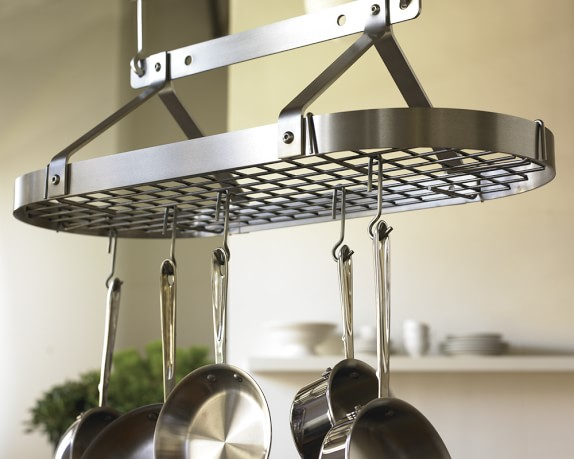 Enclume traditional oval ceiling pot rack williams sonoma for Overhead pots and pans rack