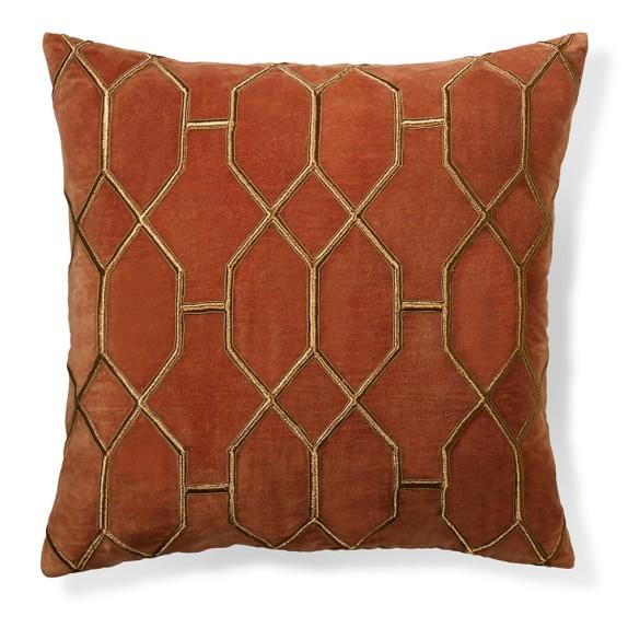 Geometric embroidered velvet pillow cover rust williams