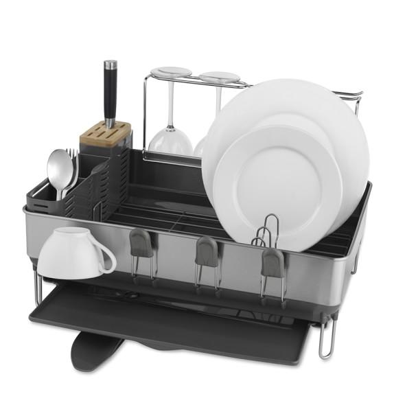 simplehuman steel frame dish rack with wine glass dryer