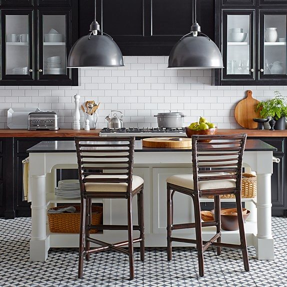 White Kitchen Island Black Granite Top: Barrelson Kitchen Island With Black Granite Top