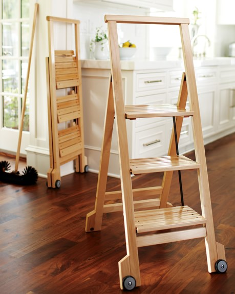 Biblio 3 Step Wooden Ladder Williams Sonoma