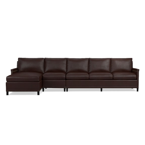 Addison 3 piece leather chaise sectional left williams for 3 piece leather sectional sofa with chaise