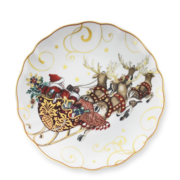 'Twas The Night Before Christmas Dinner Plates, Set of 4, Santa