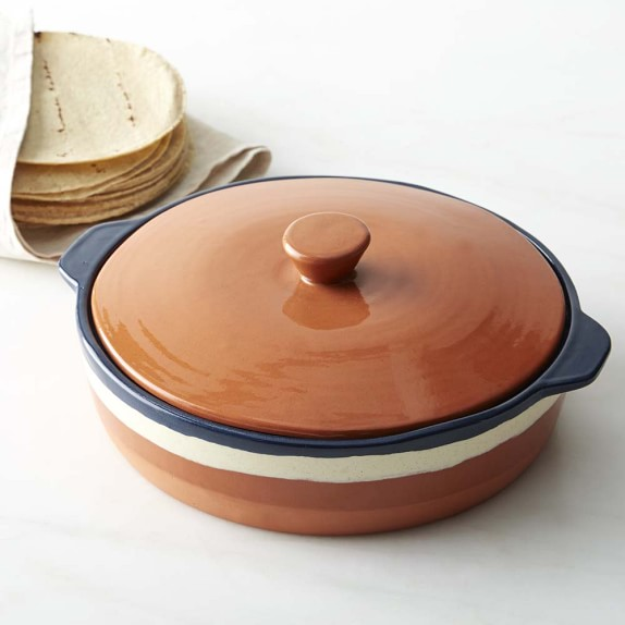 Tortilla Warmer, Blue & White Glazed