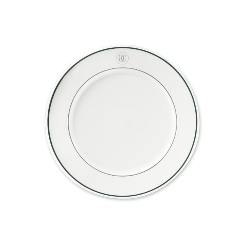 Williams-Sonoma Monogram Collection Bread Plates, Set of 4, Silver & Green