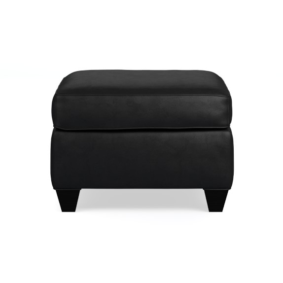Cole Ottoman, Leather, Solid, Black