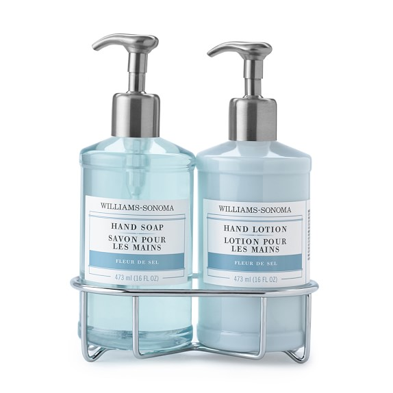 Williams-Sonoma Essential Oils Deluxe Hand Soap & Lotion Set with Wire Caddy, Fleur de Sel