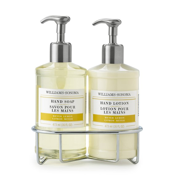 Williams-Sonoma Essential Oil Deluxe Hand Soap & Lotion Set with Wire Caddy, Meyer Lemon