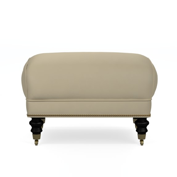 Drew Ottoman, Tuscan Leather, Solid, Vellum