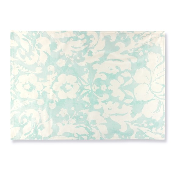 Painterly Damask Place Mats, Set of 4, Turquoise