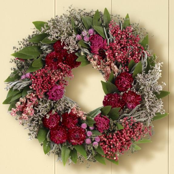 Pink Strawflower & Peony Wreath